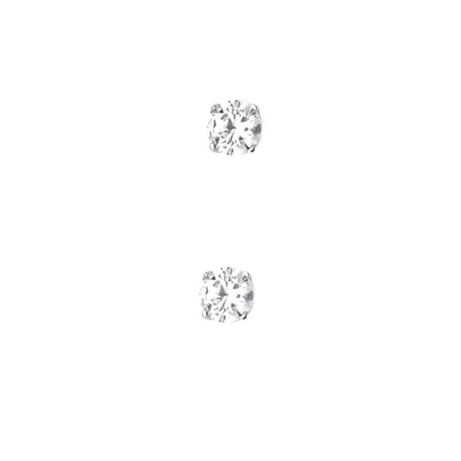 Item - White 14k 3mm Round Cz Basket Stud Screw Back Earrings