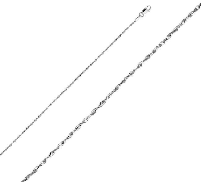 Item - White 14k 1.5mm Rope Chain - 16'' Necklace