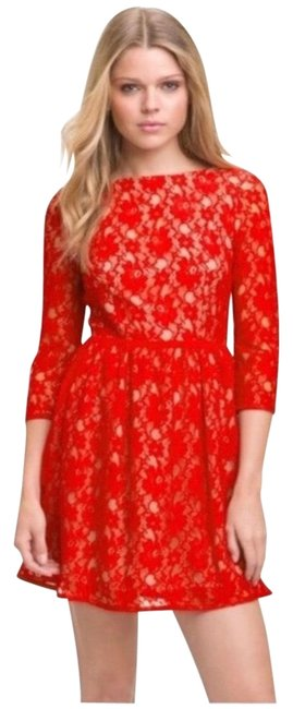 Item - Red Cream Anna Lace Short Night Out Dress Size 6 (S)