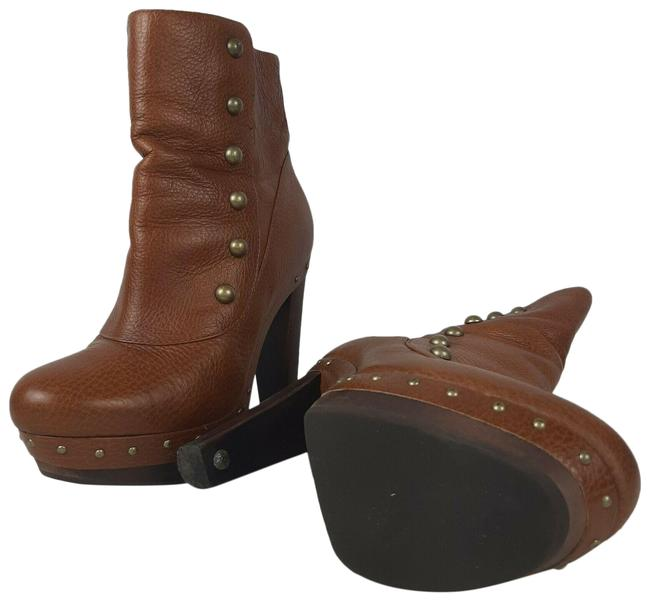 Item - Brown Leather High Heel Ankle with Studs Boots/Booties Size US 8 Regular (M, B)