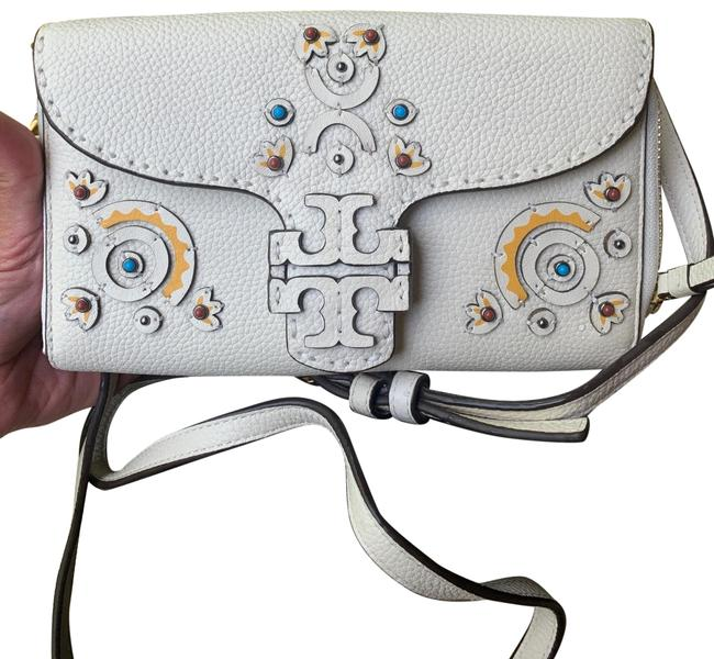 Item - Clutch Studs Embellished Crosby/Clutch White Chalk/Yellow/Blue/Gold Pebbled Leather Cross Body Bag