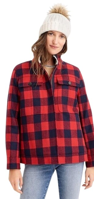 Item - Red Blue Wool Sherpa Buffalo Plaid Worker Jacket Size 4 (S)