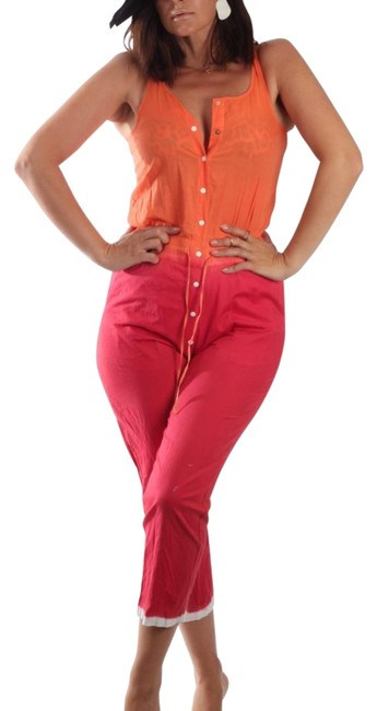 Item - Multicolor Vintage Orange Red Sleeveless Button Down Romper/Jumpsuit