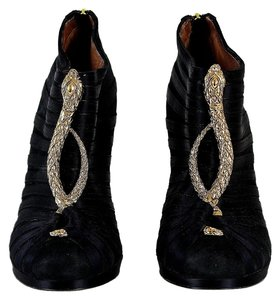 Roberto Cavalli Gold Satin Dragon Embellished Ankle Heels Black Boots