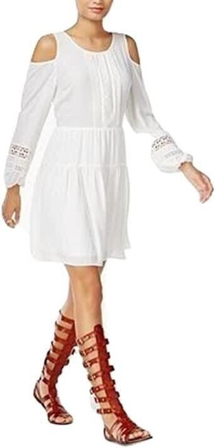 Bar lll White Peasant Short Casual Dress Size 6 (S) Bar lll White Peasant Short Casual Dress Size 6 (S) Image 1