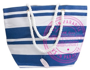 Victoria's Secret Tote Nautical Travel Pool White, Blue Beach Bag