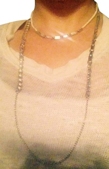 Preload https://item2.tradesy.com/images/ann-taylor-silver-pearl-crystal-choker-w-matching-long-chain-necklace-2785426-0-1.jpg?width=440&height=440