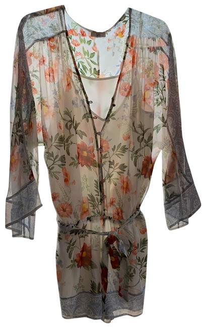 Item - Cream with Shades Of Rose Green and Light Blue Romper/Jumpsuit