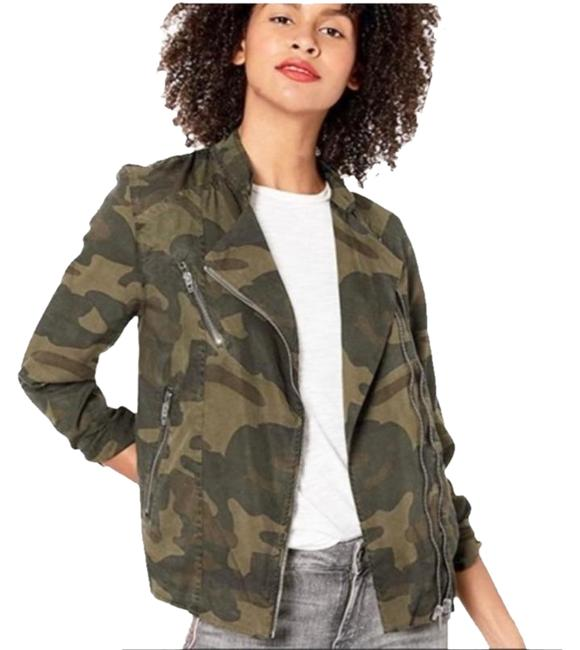 Item - Green On Duty Camo Print Moto Lightweight Jacket Size 2 (XS)
