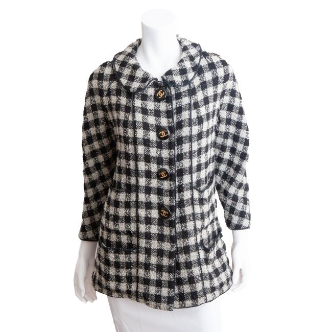Item - Black & White W Vintage Late 80s Plaid Wool W/ Oversized Logo Buttons Coat Size 6 (S)