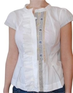 Anthropologie Cotton Short Sleeve Pleated Ruffles Top Ivory