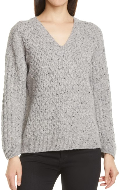 Item - V-neck Cable Knit Dolman Sleeve Wool Blend Gray Sweater