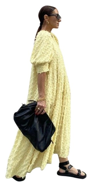 Item - Yellow New Voluminous Textured Weave Ref 2339/301 Long Cocktail Dress Size 6 (S)