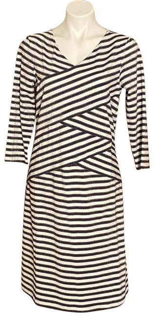 Item - White/Navy Catalina L Cloth Striped 3/4 Sleeve Navy/ Multi Mid-length Short Casual Dress Size 12 (L)