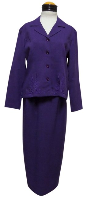 Sag Harbor Ladies SAG HARBOR SUIT Purple 2pc BLAZER JACKET w/ Long SKIRT SUIT