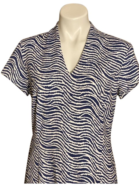 Item - White/Navy Catalina L Cloth Zebra Mid-length Short Casual Dress Size 12 (L)