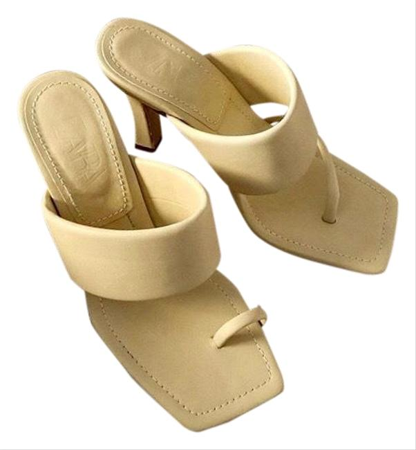 Zara Creamy Yellow Heeled Leather with Padded Strap Sandals Size US 9 Regular (M, B) Zara Creamy Yellow Heeled Leather with Padded Strap Sandals Size US 9 Regular (M, B) Image 1