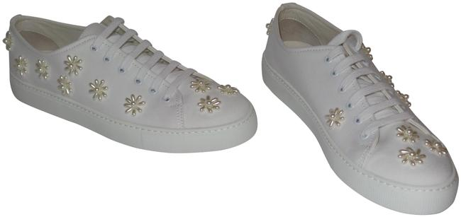 Item - White Flower Embellished Canvas Lace Up Sneakers Size EU 41 (Approx. US 11) Regular (M, B)