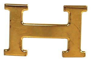 Herms Hermes Authentic Gold H Belt Buckle