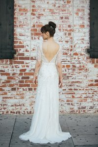 Jenny Packham Ivory Beads Chantilly Lace Mimosa Vintage Wedding Dress Size 0 (XS)