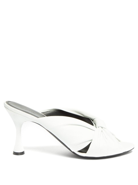 Item - White Mf Drapy Knot-front Leather Mules/Slides Size EU 37 (Approx. US 7) Regular (M, B)