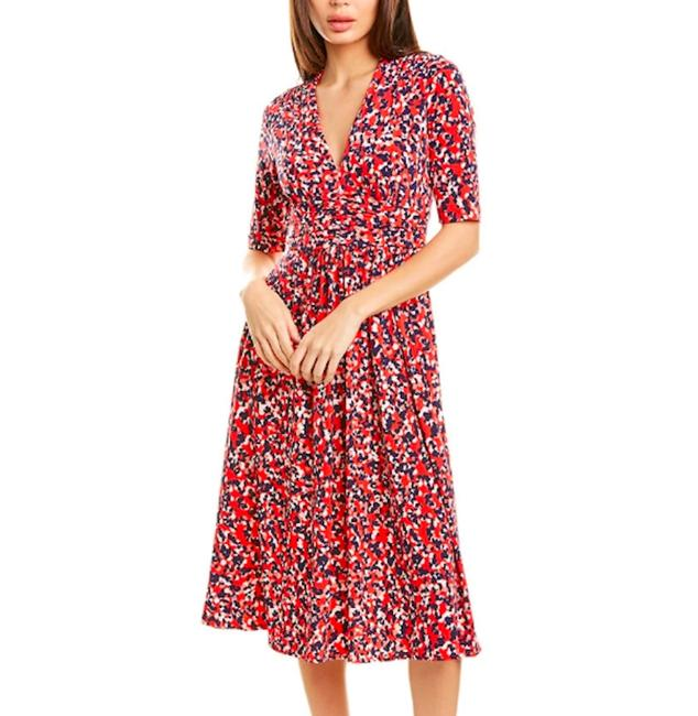 Item - Red White Blue 3/4 Sleeve Printed Midi Short Casual Dress Size 14 (L)