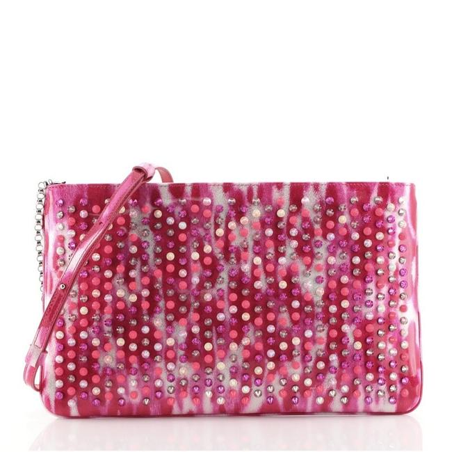 Item - Loubiposh Spiked Pink Patent Leather Clutch