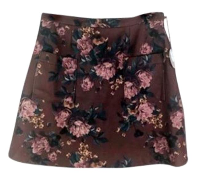 Item - Brown Red Eva Franco Mindy New Skirt Size 14 (L, 34)