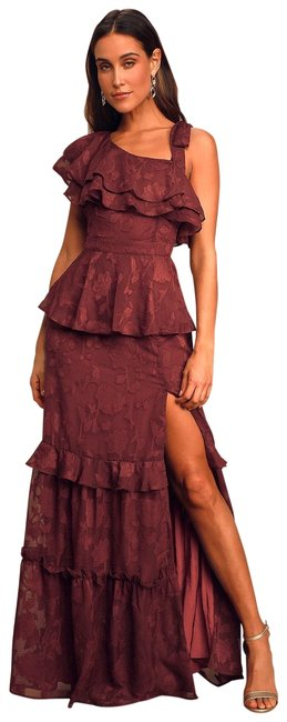 Item - Wine/Burgundy See Details Enraptured By You One-shoulder Ruffled Tiered Maroon Long Casual Maxi Dress Size 2 (XS)
