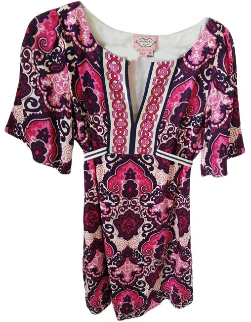 Item - Navy Pink White Paisley Wide Sleeve A-line Silk Mid-length Short Casual Dress Size 10 (M)