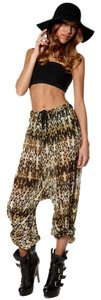 One Teaspoon Edgy Animal Print Baggy Pants Multi Black Green Off White
