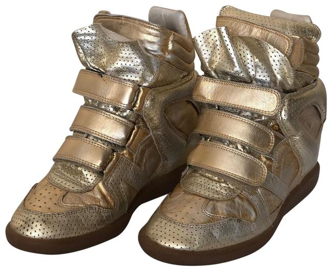 Item - Silver-gold Wedge Sneakers Size EU 39 (Approx. US 9) Regular (M, B)