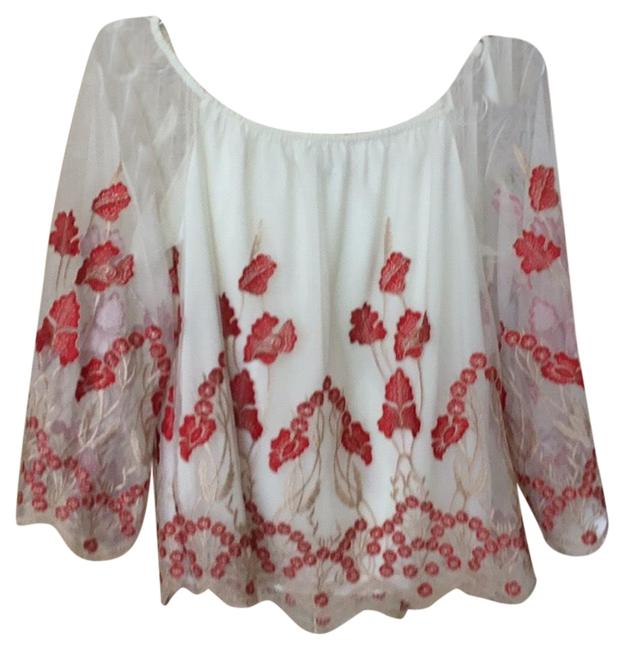 Item - Peasant Blouson Cream with Red and Taupe Embroidery Top