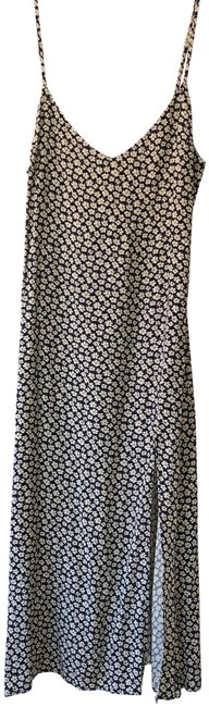 Item - Navy White Floral Midi Slip Mid-length Night Out Dress Size 6 (S)