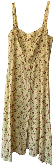 Item - Yellow Floral Persimmon Midi A-line Mid-length Casual Maxi Dress Size 6 (S)