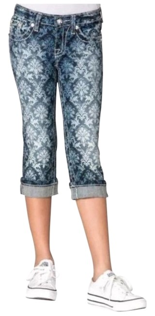 Item - Blue White Distressed Damask Print Cuffed Capri/Cropped Jeans Size 28 (4, S)