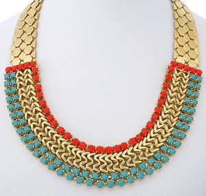 zzan Turquoise & Coral Gold Necklace