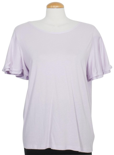 Item - Light Purple Jersey XL Cotton Modal Knit Flutter Sleeve Tee Shirt Size 16 (XL, Plus 0x)