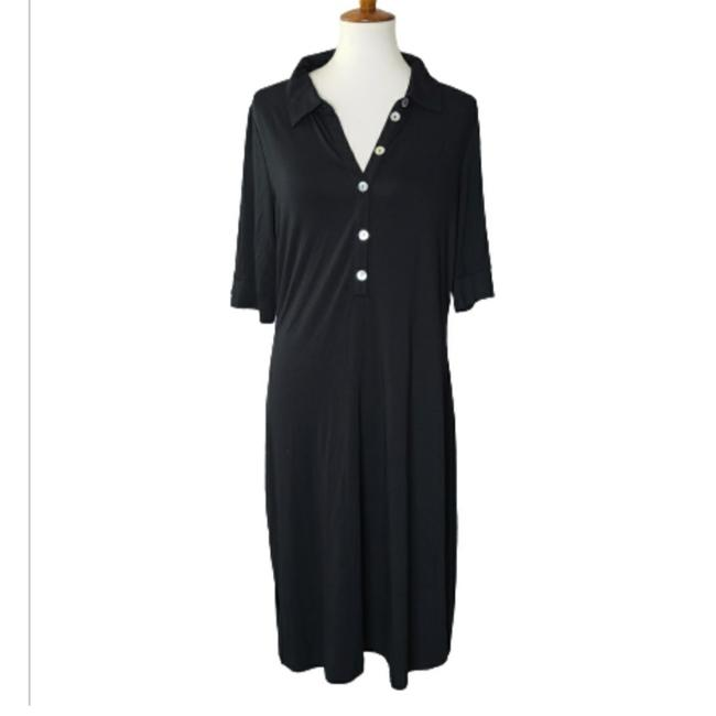 Item - Black Jersey Knit Collared Mid-length Casual Maxi Dress Size 16 (XL, Plus 0x)