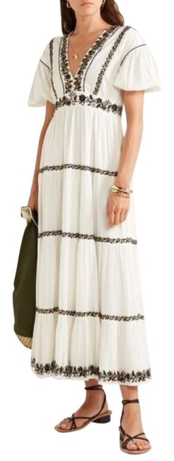 Item - White Black Alma Sequined Embroidered Mid-length Casual Maxi Dress Size 4 (S)
