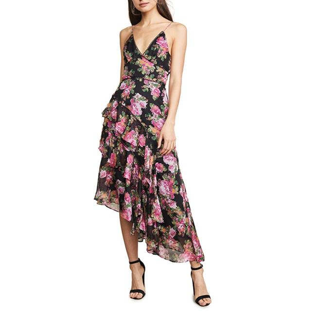 Keepsake Black Pink Oblivion Floral Mid-length Cocktail Dress Size 6 (S) Keepsake Black Pink Oblivion Floral Mid-length Cocktail Dress Size 6 (S) Image 1