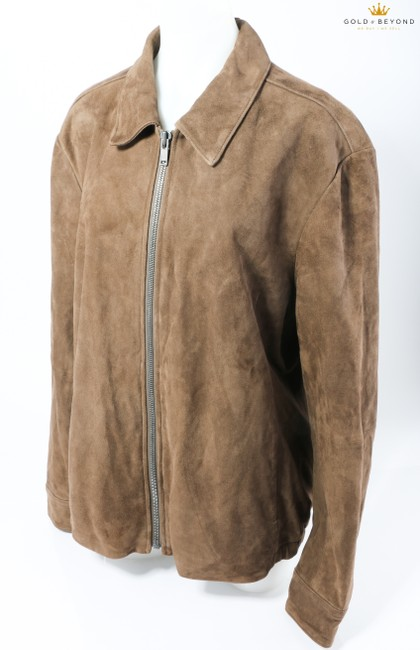 Item - Brown Men's Collar Goat Leather Jacket In Otter Shirt