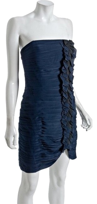 Preload https://item1.tradesy.com/images/shoshanna-navy-and-black-ruffle-front-strapless-above-knee-cocktail-dress-size-10-m-2786125-0-0.jpg?width=400&height=650