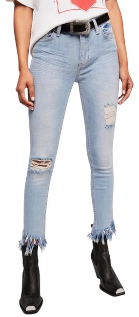 Item - Blue Light Wash Frayed Great Heights High Rise Skinny Jeans Size 8 (M, 29, 30)