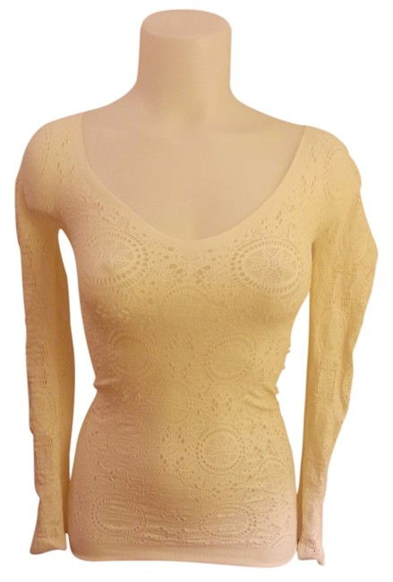 Free People Lace Layering Cut-out Cutout Cut Out Paisley Intimate Bodycon Top Cream