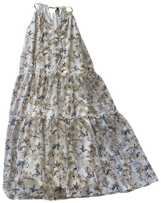 Item - Cream Floral Small Keyhole Long Casual Maxi Dress Size 4 (S)