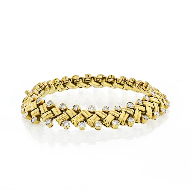 Item - Yellow Gold Grain Of Rice Vintage Diamond X Style 6.00cts Bracelet