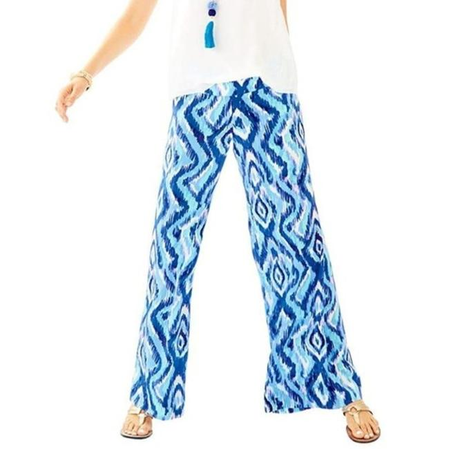Item - Blue Silk Printed Ikat Palazzo Pants Size 2 (XS, 26)