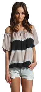 Joie Tie Dye Silk Blouse Top Black And Blush