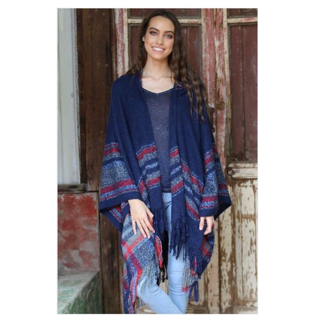 Item - Navy and Red Boho Hooded with Stripes Fringed Hem Poncho/Cape Size OS (one size)